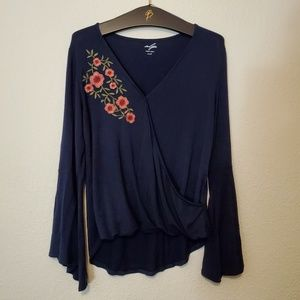 Alya Navy Embroidered Bell Sleeve Blouse